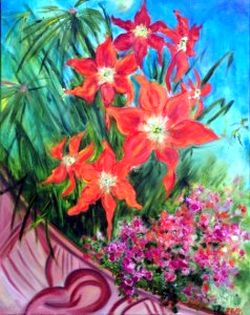 Image: Amaryllis Spring in St. John, oil painting by author.