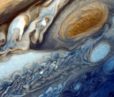 Image: Close up of Jupiter's Red Spot, a great storm that has been subsiding in recent years.