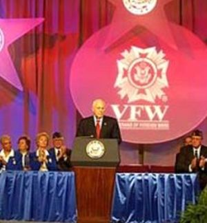 Vice President Dick Cheney speaking before the Veterans of Foreign Wars on Aug. 26, 2002. [Source: White House]