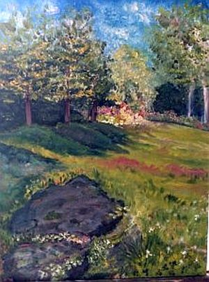 Image: Cottage Yard, oil painting by K Hunter. Front yard at my new residence in Vermont. The cats and I enjoy hanging out on this rock ledge.