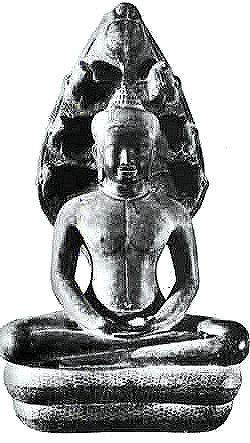 Buddha seated in the coil of a snake
