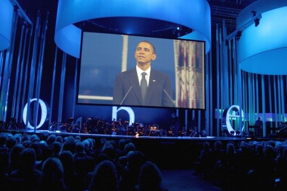 President Barack Obama makes a speech during the Nobel Peace Prize Concert at Oslo Spektrum on December 11, 2009 in Oslo, Norway Photo: Sandy Young/Getty Images