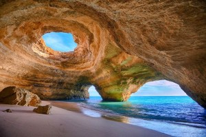 Cave Beach It's just like a place for hiding! This amazing cave-like beach is located in Algarve, Portugal.